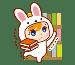 Girl wearing a rabbit sticker #455394