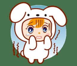 Girl wearing a rabbit sticker #455395