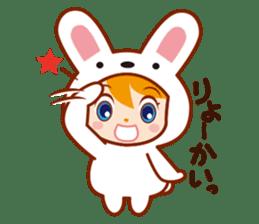 Girl wearing a rabbit sticker #455396