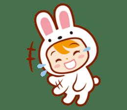 Girl wearing a rabbit sticker #455398