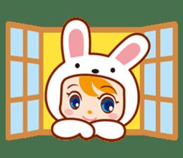 Girl wearing a rabbit sticker #455399