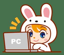 Girl wearing a rabbit sticker #455400