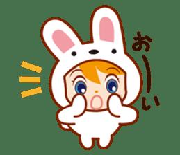 Girl wearing a rabbit sticker #455406
