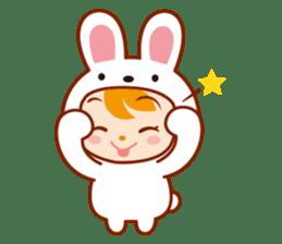 Girl wearing a rabbit sticker #455407