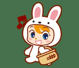Girl wearing a rabbit sticker #455408