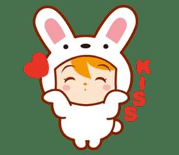Girl wearing a rabbit sticker #455409