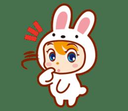 Girl wearing a rabbit sticker #455410