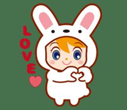 Girl wearing a rabbit sticker #455412