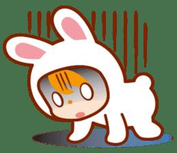 Girl wearing a rabbit sticker #455413