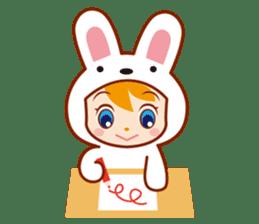 Girl wearing a rabbit sticker #455415