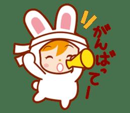 Girl wearing a rabbit sticker #455416
