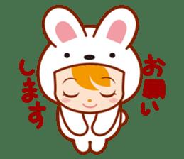 Girl wearing a rabbit sticker #455417