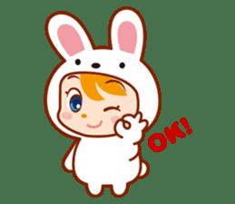 Girl wearing a rabbit sticker #455418