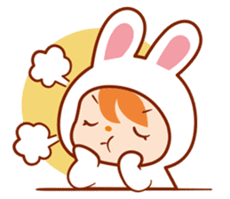 Girl wearing a rabbit sticker #455419
