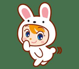Girl wearing a rabbit sticker #455420