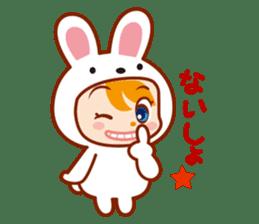 Girl wearing a rabbit sticker #455421