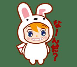 Girl wearing a rabbit sticker #455423