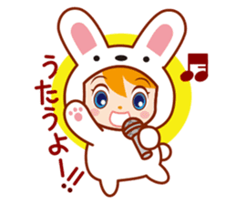 Girl wearing a rabbit sticker #455424