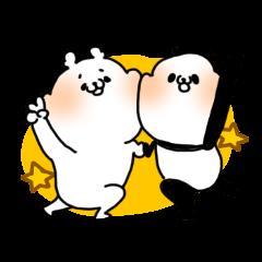 A polar bear and a panda
