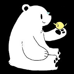 Polar Bear and small Bird
