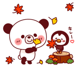 Panda(ponyan)&Puffin(Puffy)Autumn&winter sticker #492594
