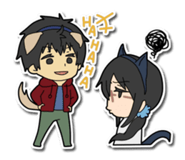 Dog boy and Cat girl sticker #548322