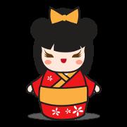 สติ๊กเกอร์ไลน์ คิมิ ตุ๊กตาคาวาอี้ Kokeshi