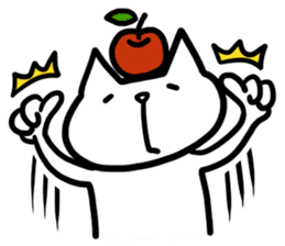 cat and apple0 sticker #582436