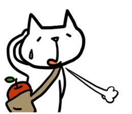 cat and apple0 sticker #582449