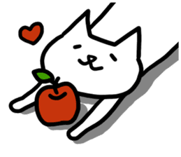 cat and apple0 sticker #582460