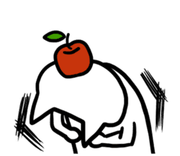 cat and apple0 sticker #582462
