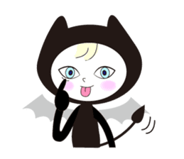 Lovely satan and twin cats sticker #584860