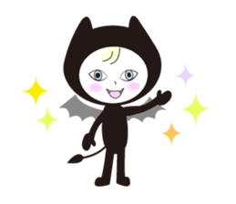 Lovely satan and twin cats sticker #584866