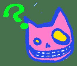 skull cat sticker #589207