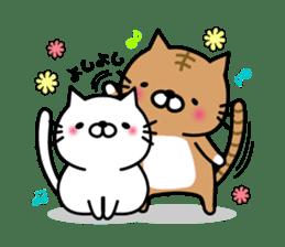 Striped cat & white cat sticker #590557