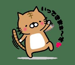 Striped cat & white cat sticker #590562