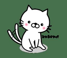 Striped cat & white cat sticker #590574