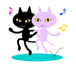 Lovely satan and twin cats 2 sticker #592515