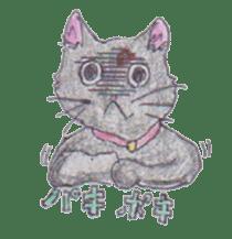 Pencil handwriting cat sticker #599005