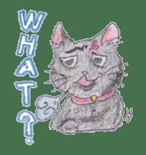 Pencil handwriting cat sticker #599012
