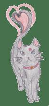 Pencil handwriting cat sticker #599022