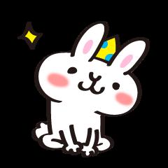 Birthday celebration stamp of rabbit