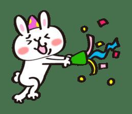 Birthday celebration stamp of rabbit sticker #600221