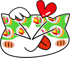 Funny very cute sushi cat sticker #603124