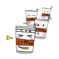 Character of ice coffee cup