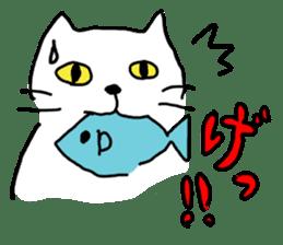 White cat sticker #653190