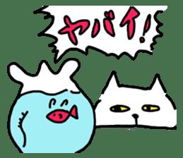 White cat sticker #653221