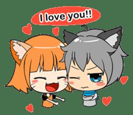 Chibi Style - Wolf Boy & Girl - English sticker #668216
