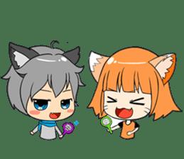 Chibi Style - Wolf Boy & Girl - English sticker #668219