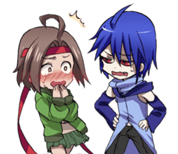 Everyday,not human boy and a human girl sticker #676927